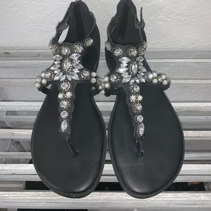 Torrid black faux leather jeweled sandals
